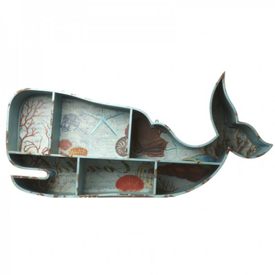 Moby Dick style whale design quirky wall shelf
