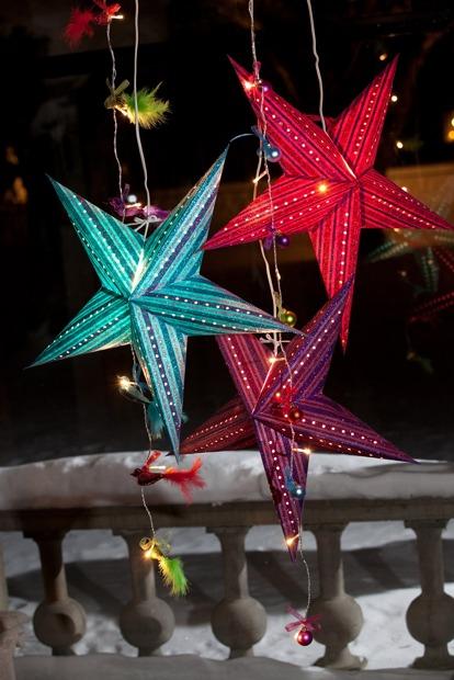 Colourful Scandinavian Swedish star light Christmas decorations from Jackie K