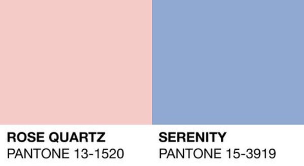Pantone colours of the year 2016 - Rose Quartz and Serenity