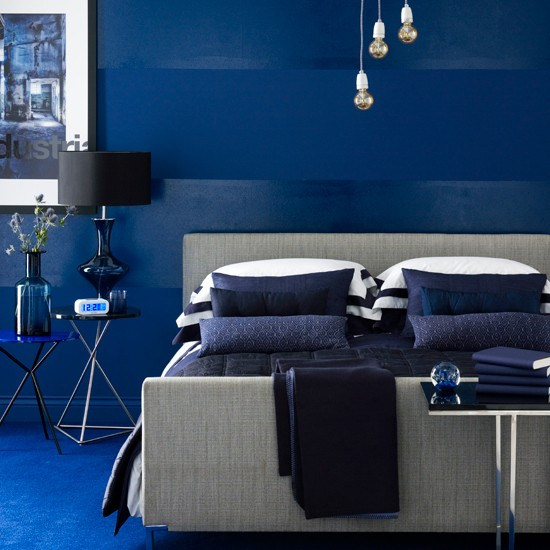 Bold and beautiful deep indigo blue bedroom decor scheme