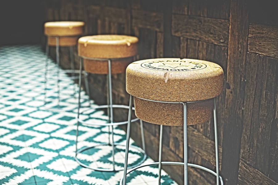 Funky champagne cork design bar stools