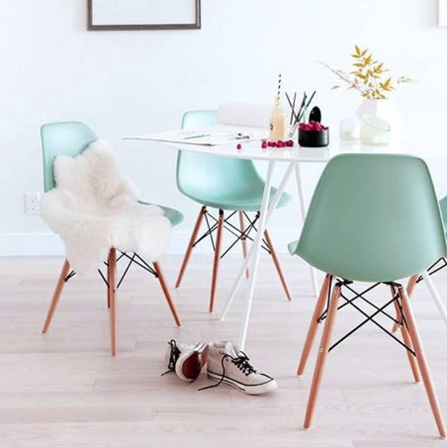 Eames style dining chairs in soft pastel colours ~ Fresh Design Blog
