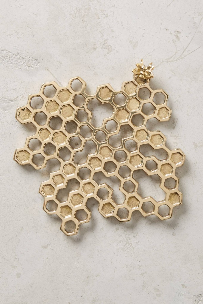Wow, love this! Gorgeous brass honey bee and honeycomb kitchen trivet. Looks too good to put hot pans on.
