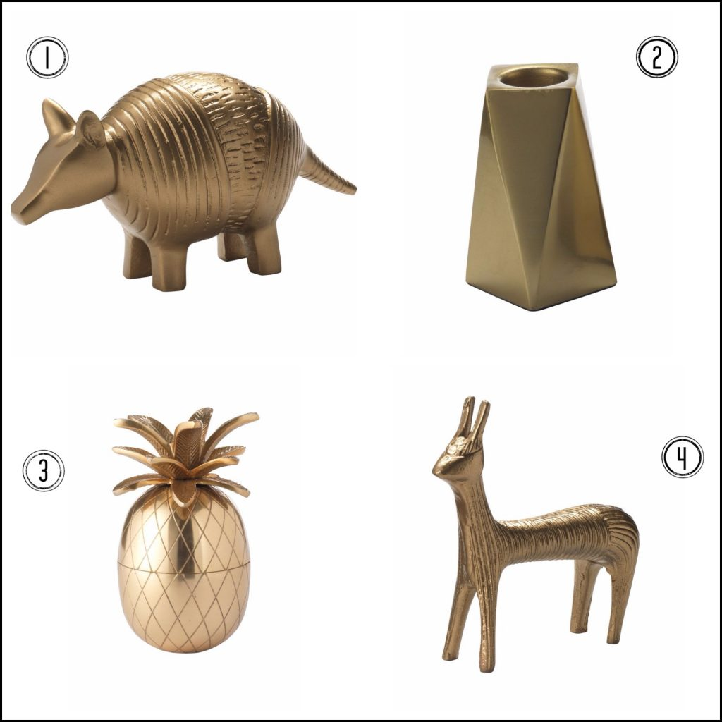 Gold home accessories from House of Fraser - particularly love the armadillo!