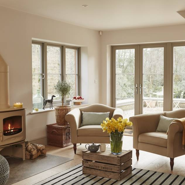 These dolid wood French doors and windows look really stylish and work well in a modern home