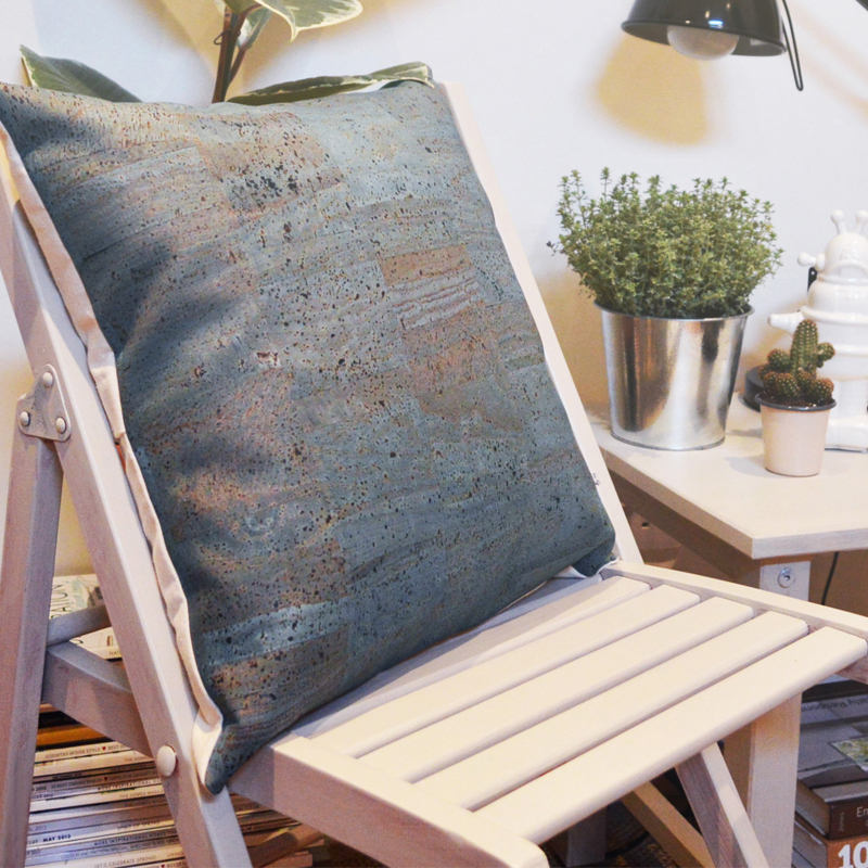 Unusual cushion made from cork. Versatile, durable and eco-friendly.