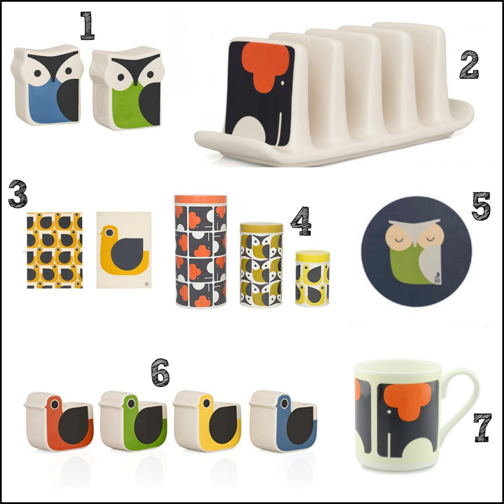Bold and retro Orla Kiely design homeware, featuring an owl, hen and elephant. Super cute and stylish.