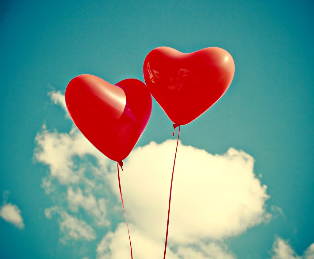 Cute red heart shaped balloons