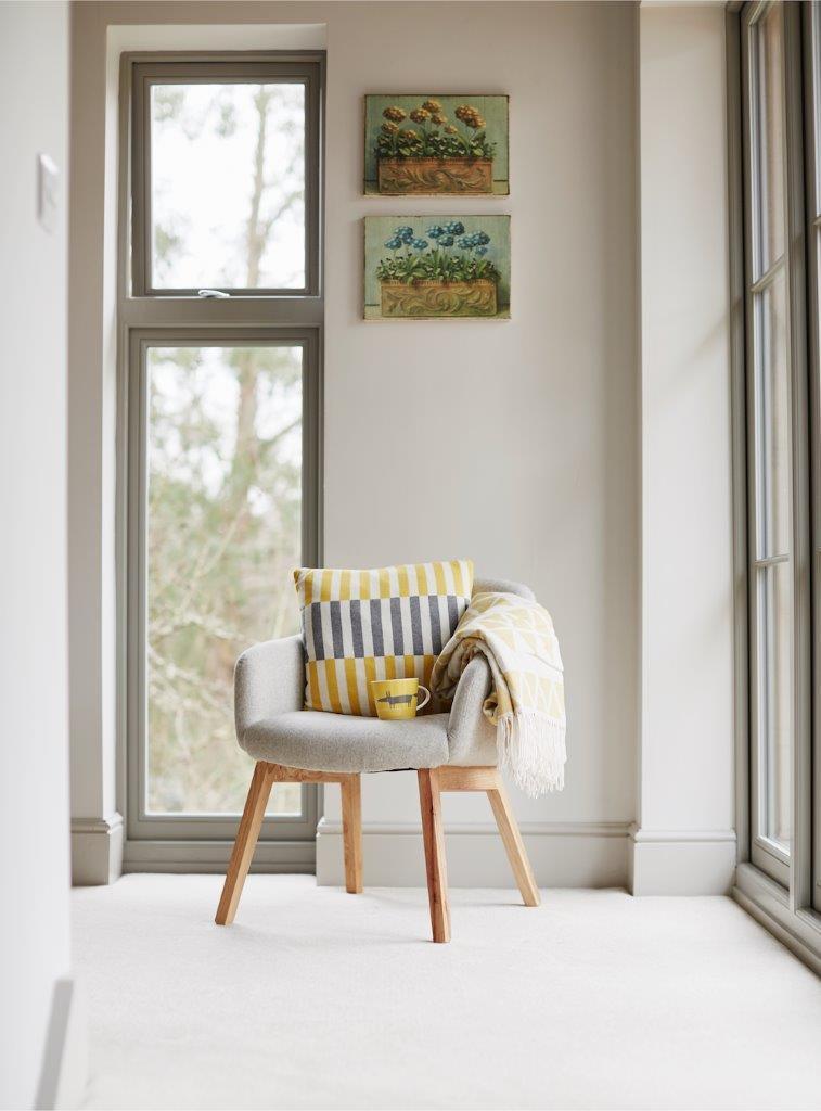 Freshly updated bedroom with new wooden windows