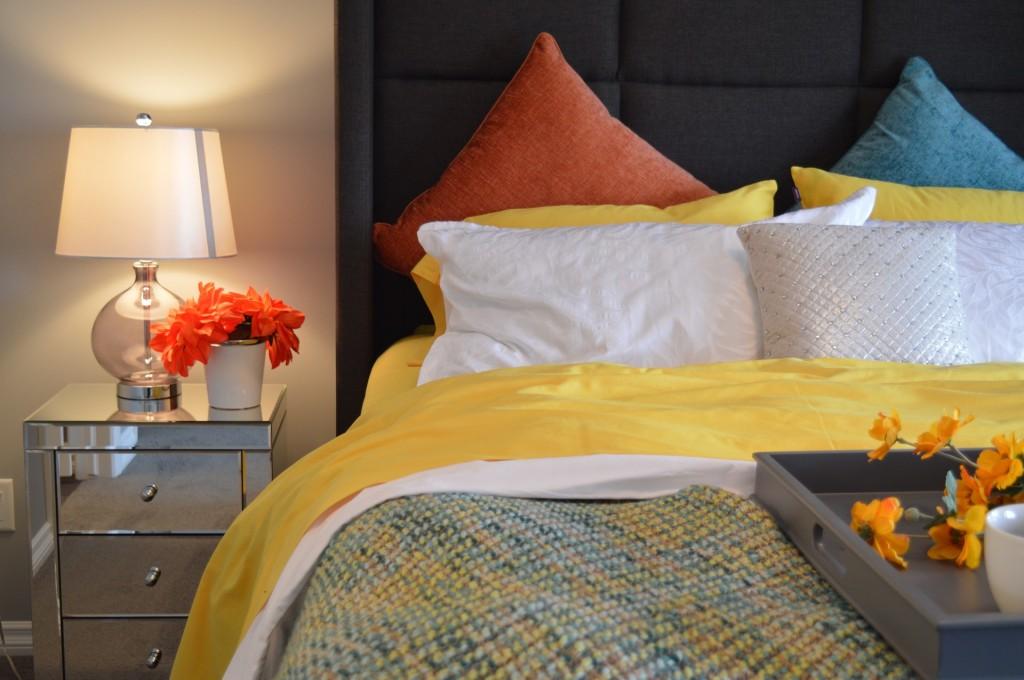 Fresh cheery and bright bedroom interior design scheme
