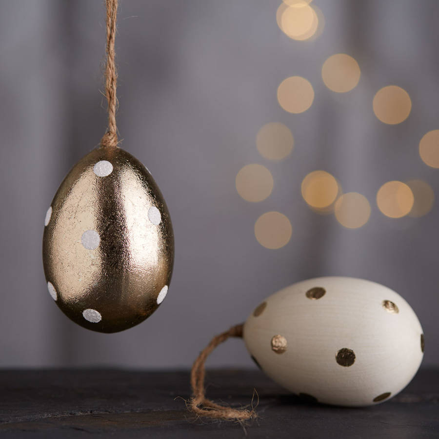 Gold and white metallic Easter egg decorations