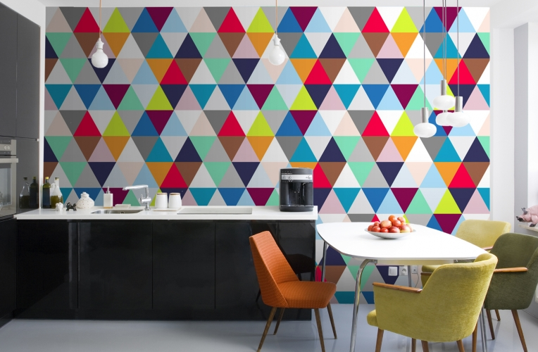 Love this modern geometric triangle design wall mural and especially that it can be custom made for your wall size.