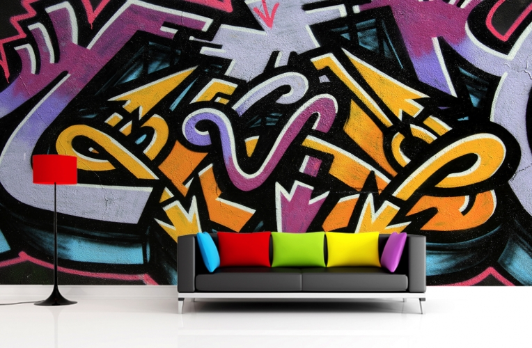 Easy way to add a sense of funk to a room - use a graffiti wall mural!
