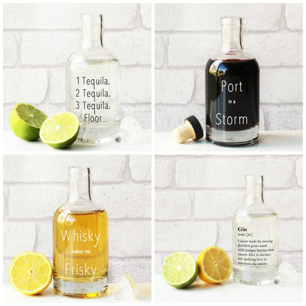 Decant your wine or spirits into these entertainingly engraved glass bottle decanters. Great gift ideas for wine and spirit lovers.