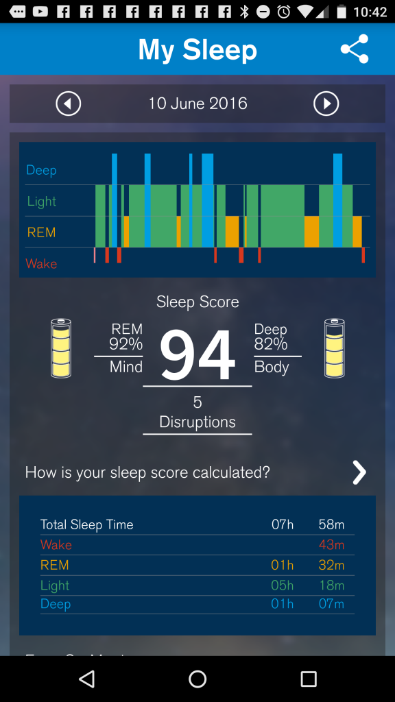 Screenshot of S+ by ResMed Android App sleep score in detail