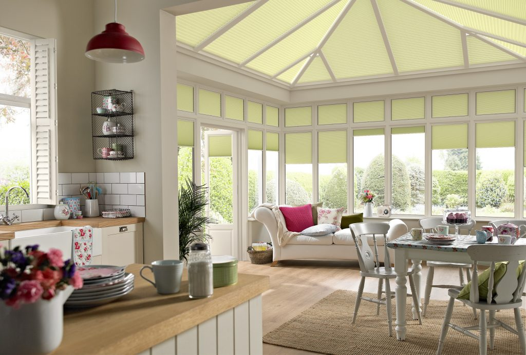 Fresh and modern conservatory with Duette blinds