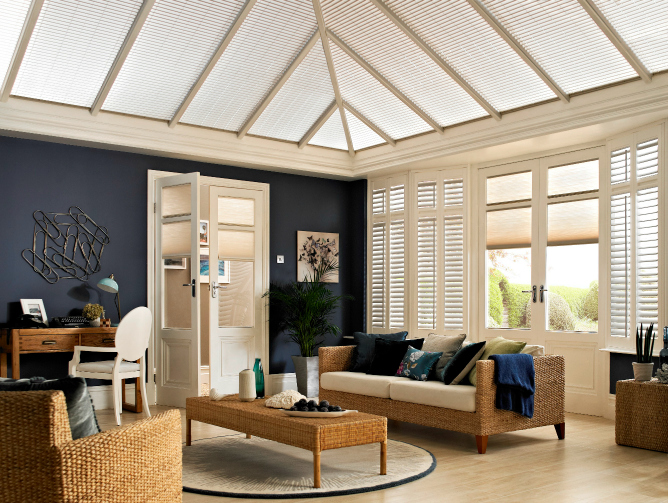 Use blinds and shutters to control the temperature in a conservatory