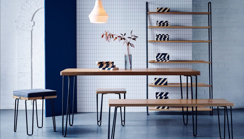 Modern Brunel shelving and table from Heal's. It's ideally styled for a contemporary home.