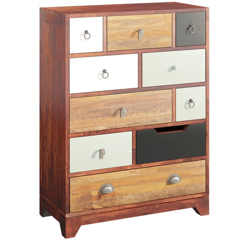 Love this colourful chest of drawers with 10 different sized drawers to fill with treasure!