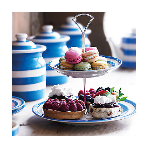 Gorgeous blue and white classic stripe Cornishware cake stand from John Lewis
