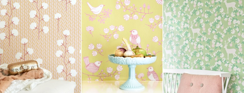 Gorgeous pastel wallpaper designs, from the My Secret Garden collection by Swedish company Majivillan.