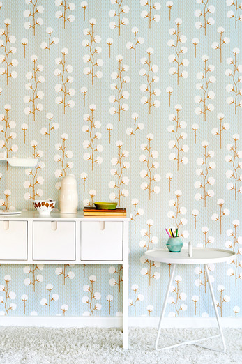 Sweet cotton trailing blooms wallpaper by Swedish company Majvillan