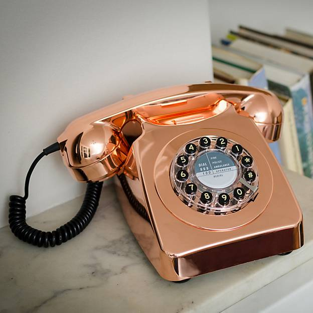 Stunning retro style rotary dial phone in a fab metallic copper finish