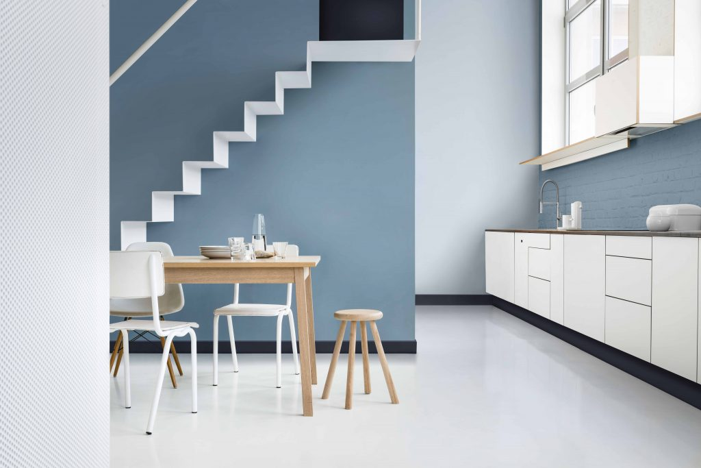 Inviting kitchen area painted with Dulux paint in Denim Drift, Cobalt Night and Borrowed Blue
