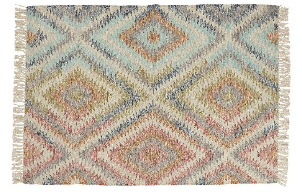 Stylish Kilim diamond rug in a beautiful soft colour palette