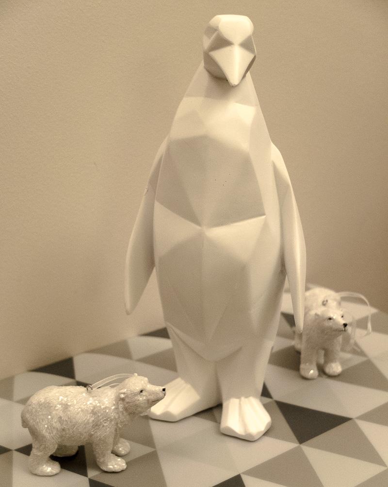 Gorgeous white geometric penguin