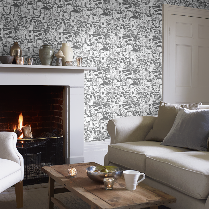 Love this quirky monochrome wallpaper - so much going on and so many things to spot!