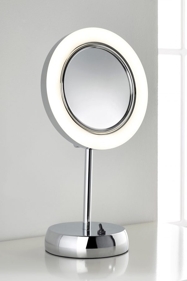 Hotel bathroom style LED magnifying mirror from Pebble Grey